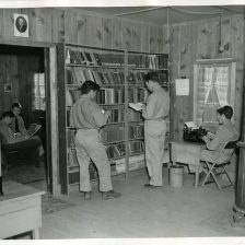 """35-GE-1E-16 """"The library is an important feature of every CCC camp."""""""