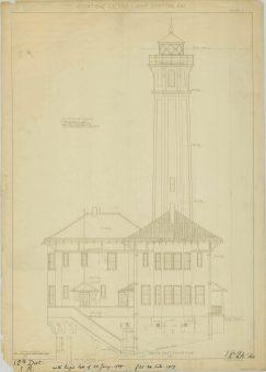 RG26: Lighthouse Plans; CA, Alcatraz Island, #2. Southeast Elevation, 1909. NAID: 77415652. https://catalog.archives.gov/id/77415652