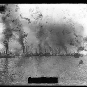 77-SOO-U-7: Resurvey of St. Marys River: Construction of Unidentified Station, Presumably Larke Station (Possibly Image: Resurvey No. 8, 8 June 1893). [Evidence of fingerprints on the negative where the emulsion has been touched and permanently damaged.]
