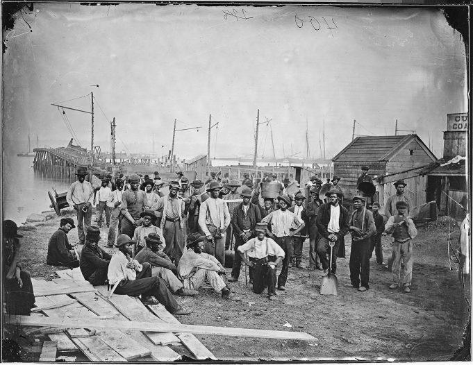 """Negro laborers at Alexandria, VA near coal wharf."" ca. 1860 - ca. 1865. (111-B-400)"