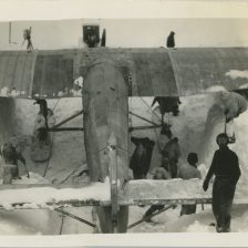 Original Caption: Pulling Floyd Bennet Ford-Trimotor had been in snow since 1930 (1934). Local identifier: XEJD-DE-01-15-14