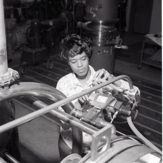 """""""Veronica Lambert, Air Force Veteran, now female electrical apprentice."""" Date Taken: October 1976 (Local ID: 255_GRC_1976_04182)"""