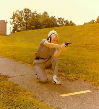 """""""The kneeling position of the practical pistol course, FBI Academy, Quantico, VA."""" Date Taken: February 1976 (Local ID: 65-QT-9-8)"""