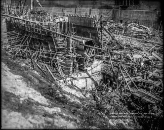 U.S. Navy Yard, Norfolk, Virginia, Sept 5, 1918, C-2258, Dry Dock #4 Landslide from South, Geo Leary Construction Co. Local Identifier: 181-V-1856
