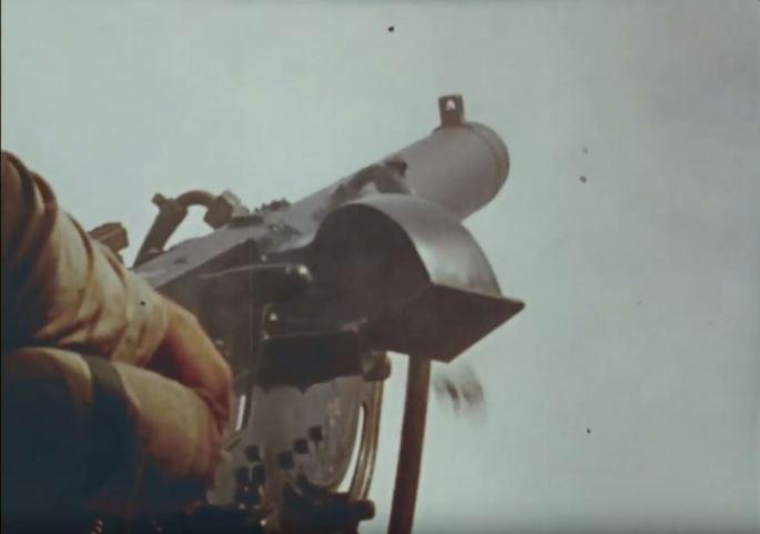 A close shot of a large gun.
