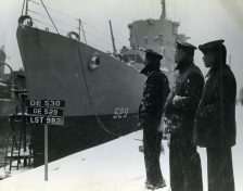 Sailors of the USS Mason, commissioned at Boston Navy Yard, proudly look over their ship which is first to have predominately black crew. Date taken: 20 March 1944. (Local Identifier: 80-G-218861)