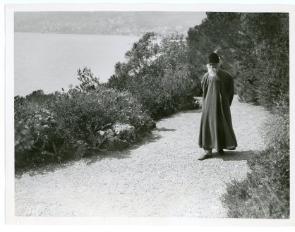 """""""The Celebrated Hindu Poet, Rabindranath Tagore, Coming from India, Stopped at Cap Martin on the Cote d'Azur Before Continuing on Towards Paris"""" (306-NT-351E-4)"""