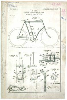 RG-241-Patent 719595: Patent Drawing of J.B. Huss Bicycle Driving Mechanism.