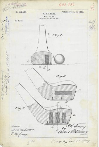 RG-241 Patent 632,885: Patent Drawing for H. R. Sweny's Golf Club