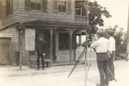 Filming a scene in which the toll-gate keeper worries about his loss of income due to the new railroad. Photo number 30-N-40-514.