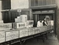 Wrigley Factory. Loading a full car for the Y.M.C.A. Local Identifier: 165-WW-192D-7.