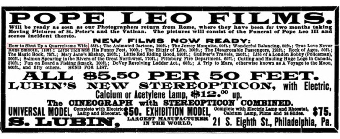 Lubin Manufacturing Company Ad from the New York Clipper, August 1, 1903.
