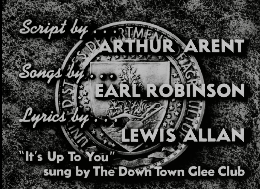 """Opening Credits for """"It's Up to You"""" (208.50) showing writer, songwriter, lyricist, and vocals."""