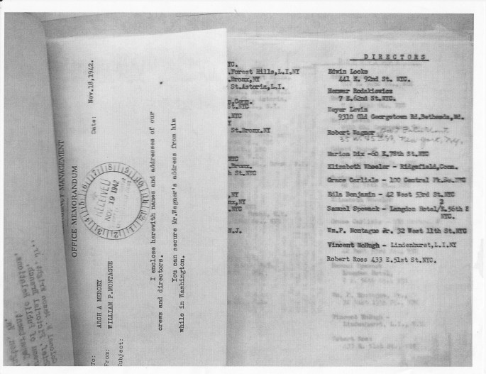 OWI Memo dated November 18, 1942, containing a list of personnel, including Elizabeth Wheeler
