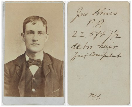 """Identification Card for John Hines (National Archives Identifier 76040552), an example of a """"New York City"""" card."""
