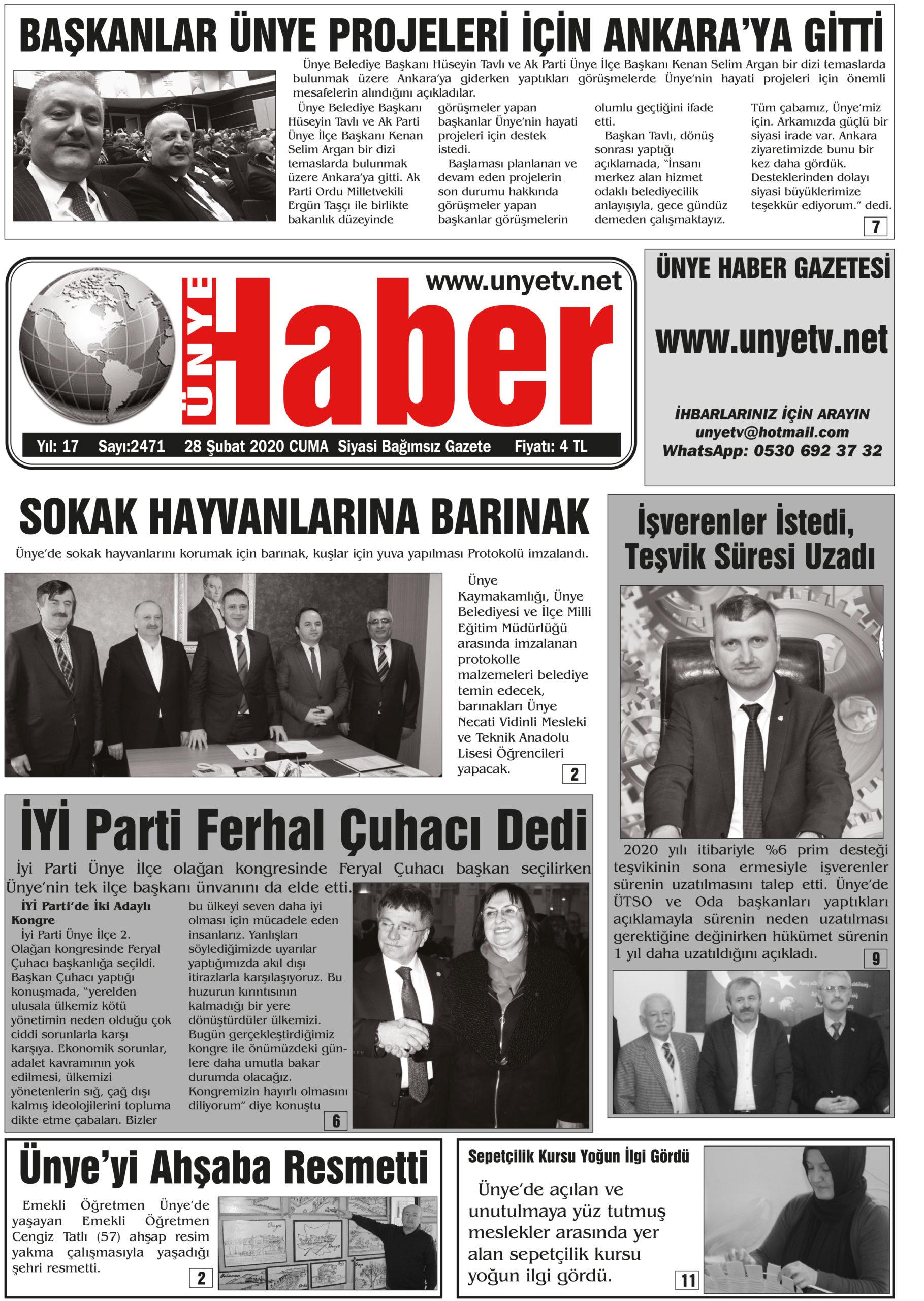 28.02.2020 Ünye Haber Gazetesi 1. Sayfası