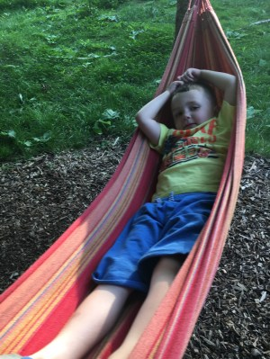 Lounging in a hammock
