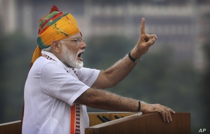 Indian Prime Minister Narendra Modi addresses to the nation on the country's Independence Day from the ramparts of the historical Red Fort in New Delhi, India,  Aug. 15, 2019.