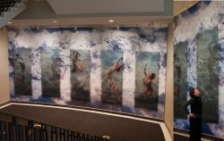 Confluence Through the Looking Glass, 2011; Medium: Dye‐sublimation digital prints on polyester, tempered glass, technographic interlayer, aluminum, steel Size: 4.8m x 9.5m (16.5ft x 31ft) Commission for Jubilee Auditorium, Calgary;