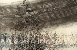Migration (detail) 2016, intaglio and chine colle