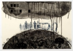 Displacement 2015, intaglio and chine colle