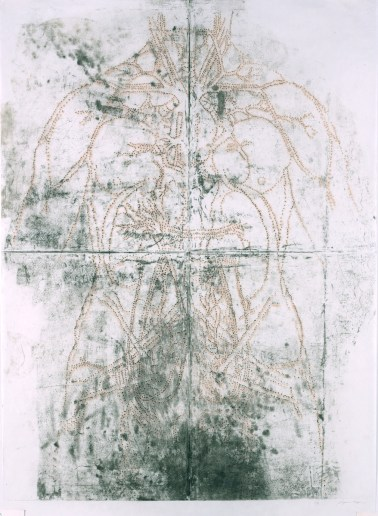 """Title: Dissection of the principal organs and arterial system of a woman (verso), 2014 version Date: 2014 Media: etching and collagraph on Mulberry Image Size: (h) 48"""" x (w) 36"""" Paper Size: (h) 51"""" x (w) 36"""""""