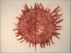 """Title: tit II Date: 2016 Media: collagraph on mulberry on stretched canvas Size: (h) 36"""" x (w) 48"""" x (d) 1"""" (in two panels)"""