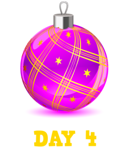 Animation: Purple Christmas Bauble with gold stars and ribbon. Text: Day 4