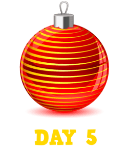 Animation: Red Christmas Bauble with Gold lines. Text: Day 5
