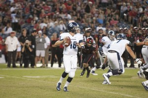 Redshirt freshman Anthony Lawrence looks to throw the ball.   Photo Courtesy of USD Athletics