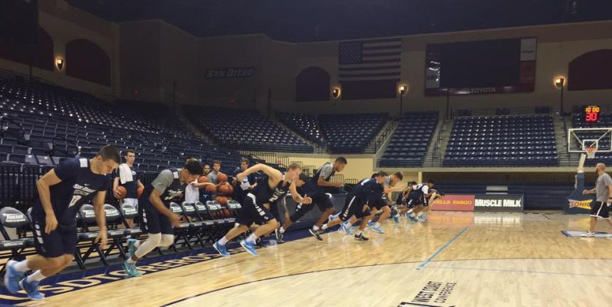 The men's basketball team lines up for sprints in a practice held at the Jenny Craig Pavilion on Oct. 2. Photo Courtesy of USD Men's Basketball/Twitter