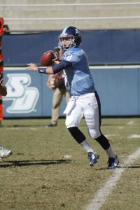 Ian Lituchy/The USD Vista Redshirt freshman quarterback Anthony Lawrence looks to pass.