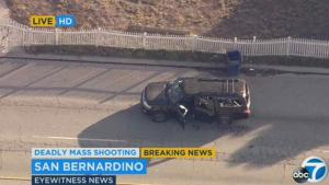 Photo grabbed from KABC news helicopter footage. KABC helicopter footage showing the vehicle the two gunmen fled in after the police shoot out.