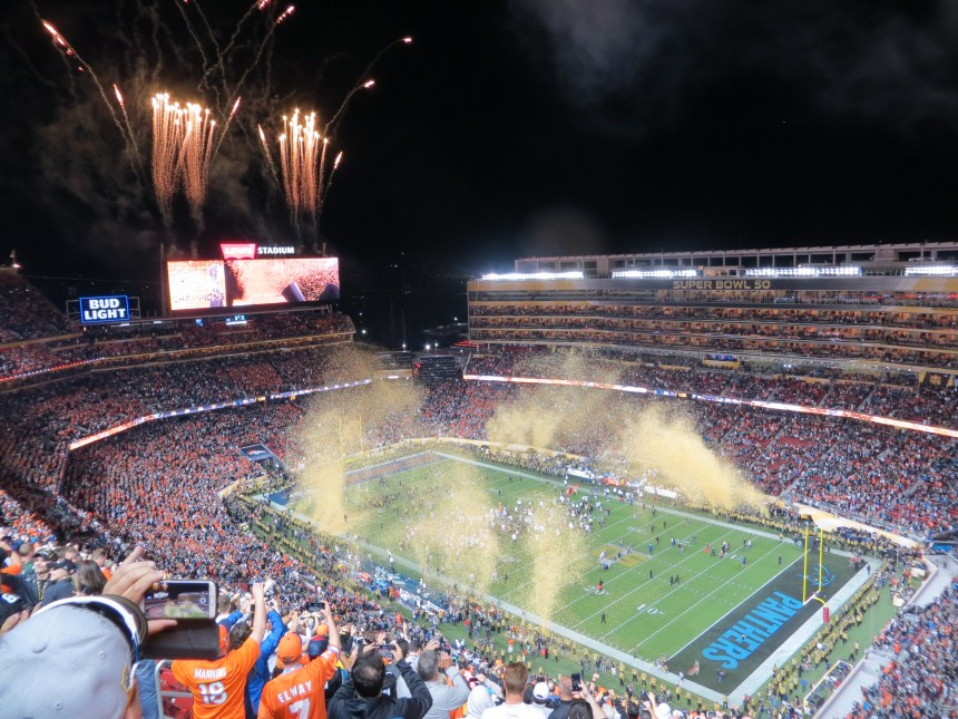 Broncos fans celebrate their team's Super Bowl win from their seats at Levi's Stadium in Santa Clara, CA.