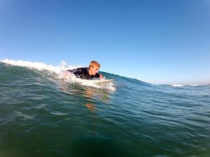 Junior Max Gough enjoys surfing without worry of shark attacks.