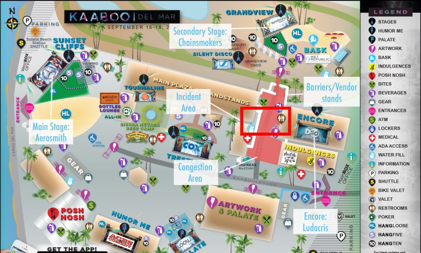The KAABOO festival map outlining key locations of festival goers Saturday night. The large crowds resulted in a riot and police action.