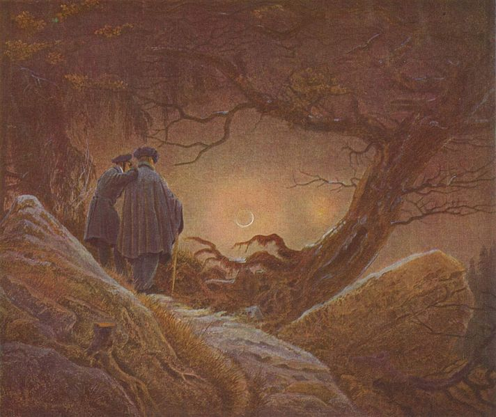 Due amici e la luna - Caspar David Friedrich