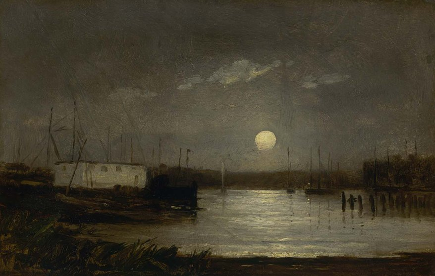 Moon over a harbor - Edward Mitchell Bannister
