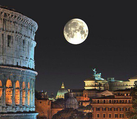 Full moon with the Colosseum in the Eternal City