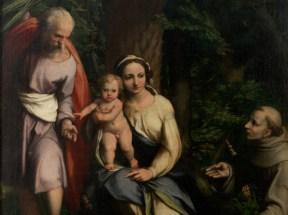 Correggio (Antonio Allegri), Riposo durante la Fuga in Egitto con San Francesco, 1520 circo, Olio su tela, 146.2 x 136.4 cm, Firenze, Galleria degli Uffizi