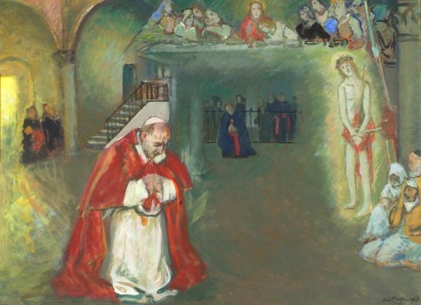 Aldo Carpi PREGHIERA NEL CENACOLO 1934 olio su tela Associazione Paolo VI, Arte Contemporanea Concesio