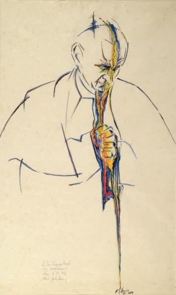 Hansing Ernst Gunter, PAOLO VI RACCOLTO IN PREGHIERA, 1969 Tempera su carta Associazione Paolo VI, Arte Contemporanea Concesio