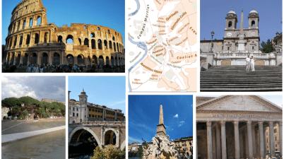 curiosità su Roma e sulle fontane capitoline, sull'Isola Tiberina, sul Colosseo, su Piazza di Spagna e sul Pantheon, su Ponte Fabricio e sui leggendari sette colli