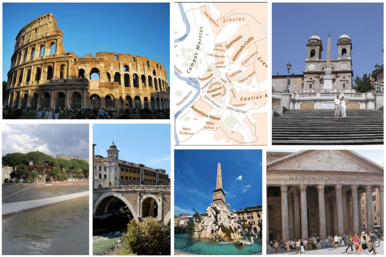 aneddoti sulle fontane capitoline, sull'Isola Tiberina, sul Colosseo, su Piazza di Spagna e sul Pantheon, su Ponte Fabricio e sui leggendari sette colli