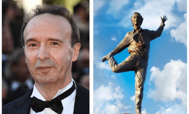 Castiglion Fiorentino, imbrattata la statua dedicata a Roberto Benigni