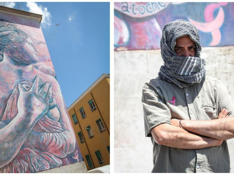 Garbatella, la Venere in rosa dello street artist Carlos Atoche