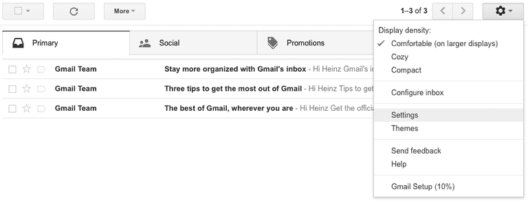 Select Settings from the menu Gmail
