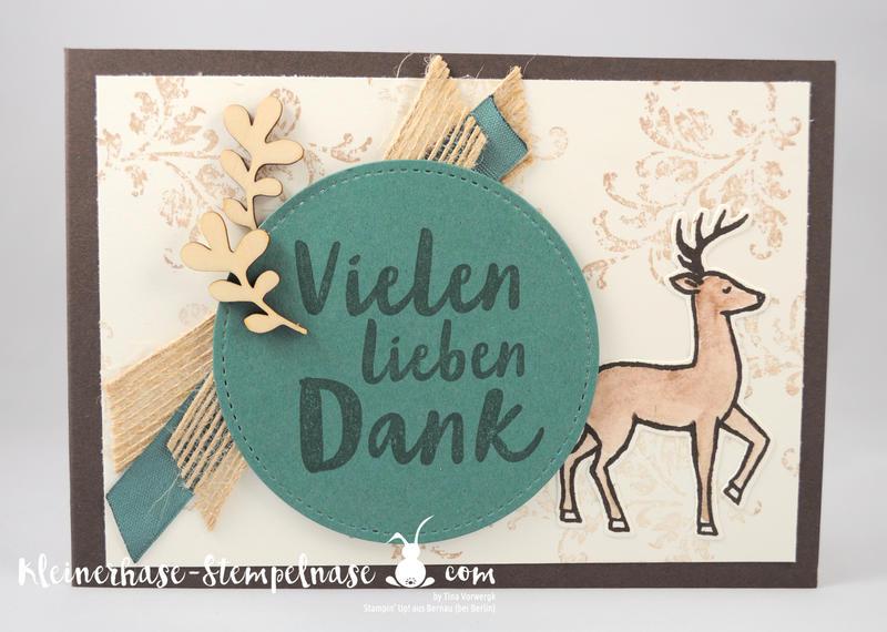 Stampin Up Bernau Berlin Hirsch Flaschenanhänger Danke Zum Dank Weihnachtsschlitten Timeless Textured Stickmuster 6