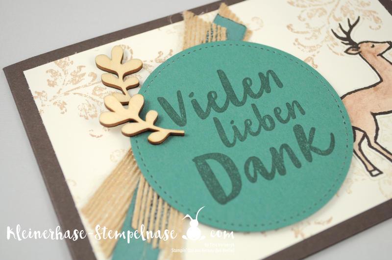 Stampin Up Bernau Berlin Hirsch Flaschenanhänger Danke Zum Dank Weihnachtsschlitten Timeless Textured Stickmuster 5