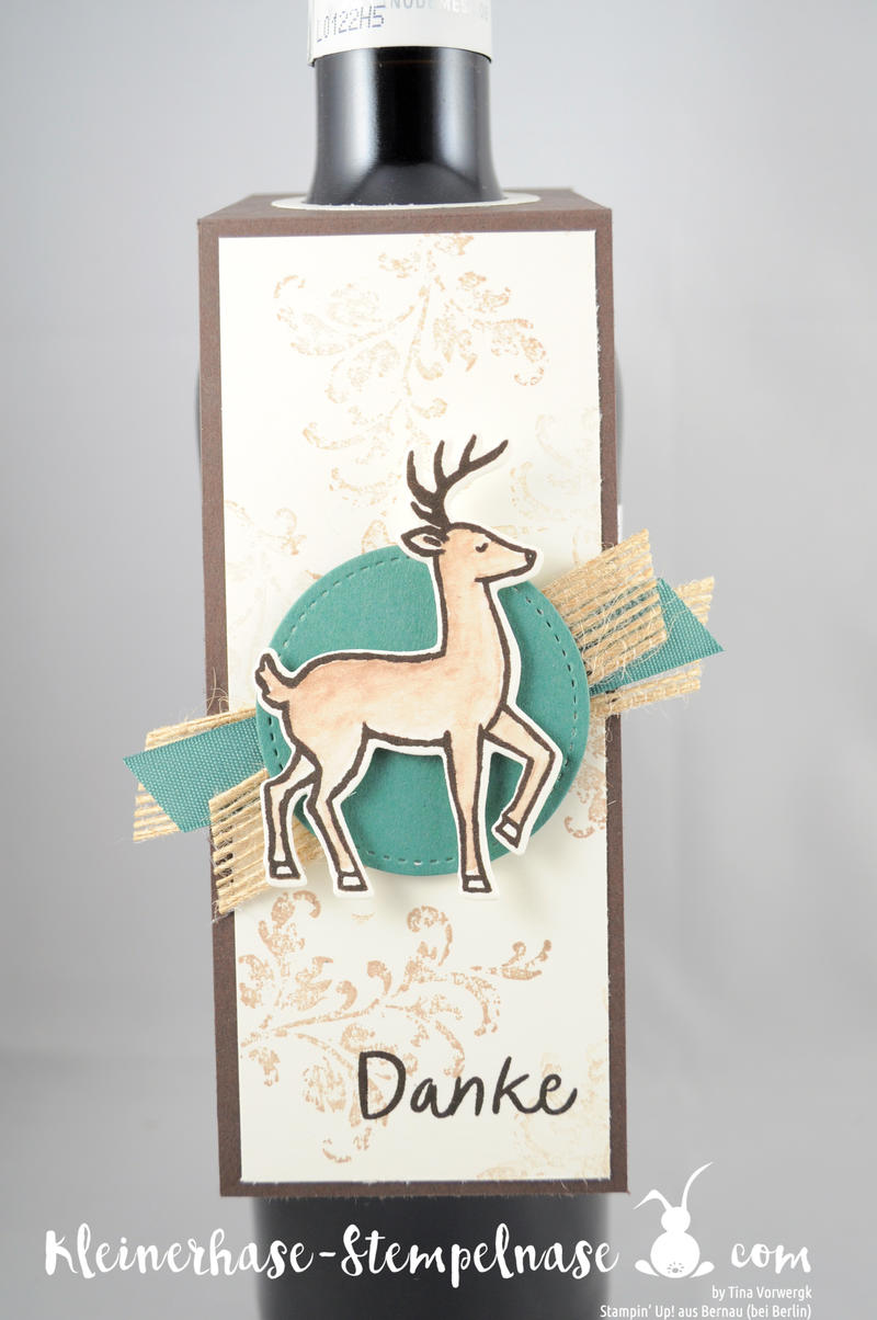 Stampin Up Bernau Berlin Hirsch Flaschenanhänger Danke Zum Dank Weihnachtsschlitten Timeless Textured Stickmuster 3